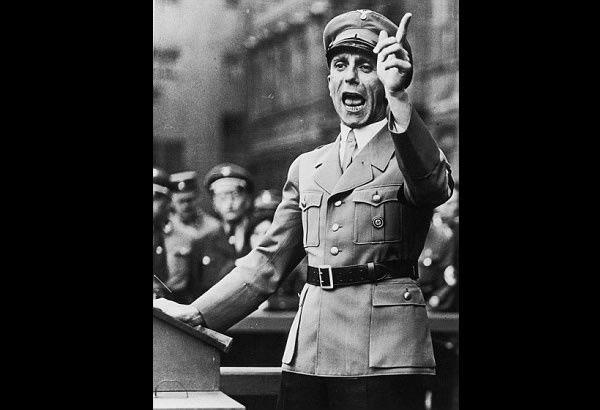 The family of Adolf Hitler's minister of propaganda Joseph Goebbels, pictured (above) in September 1934, is suing a publisher for royalties over a biography that used extracts from his diaries