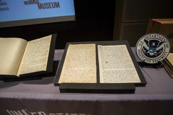 Pages from the diaries of Alfred Rosenberg on display at the U.S. Holocaust Memorial Museum in Washington