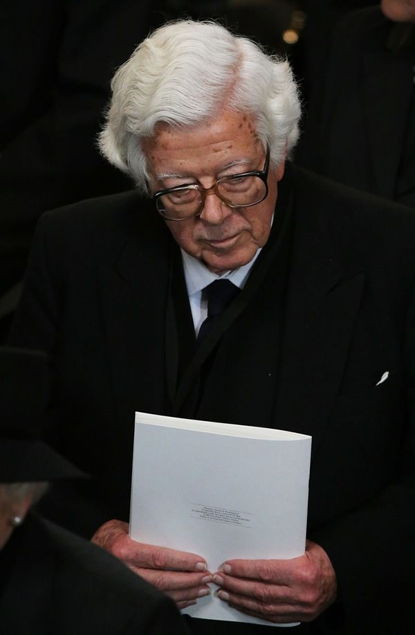 Howe leaves the ceremonial funeral of Lady Thatcher at St Paul's Cathedral in 2013