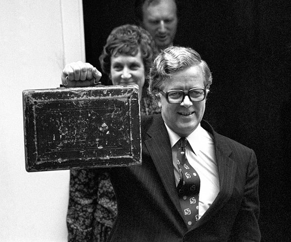 Howe and Elspeth leave No 11 Downing Street to present his first budget in 1970
