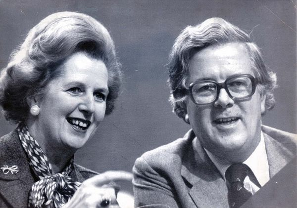 Margaret Thatcher and Geoffrey Howe at the Conservative conference in Brighton, 1980