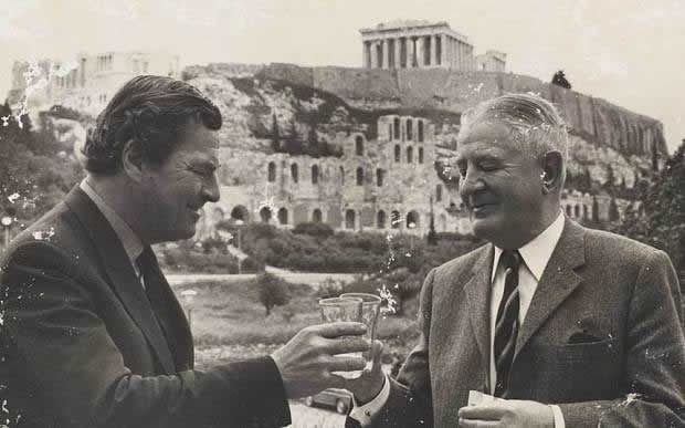 Old enemies: Patrick Leigh Fermor, left, met Heinrich Kreipe, his former captive, at a reunion in Greece in 1972