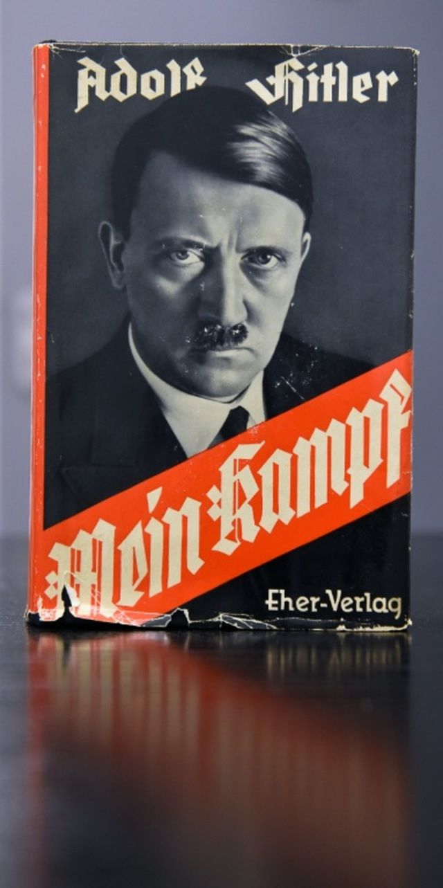 """A German edition of Adolf Hitler's """"Mein Kampf"""" (My Struggle) at the Berlin Central and Regional Library"""