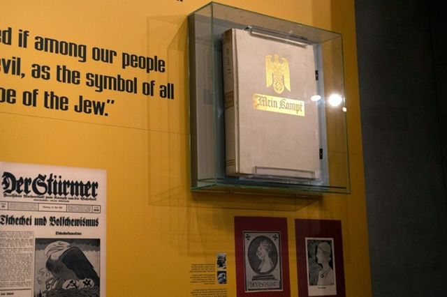 """A copy of """"Mein Kampf"""", Hitler's anti-Semitic rant, which he wrote from prison in the early 1920s, is seen displayed at the Yad Vashem Holocaust Museum in Jerusalem"""