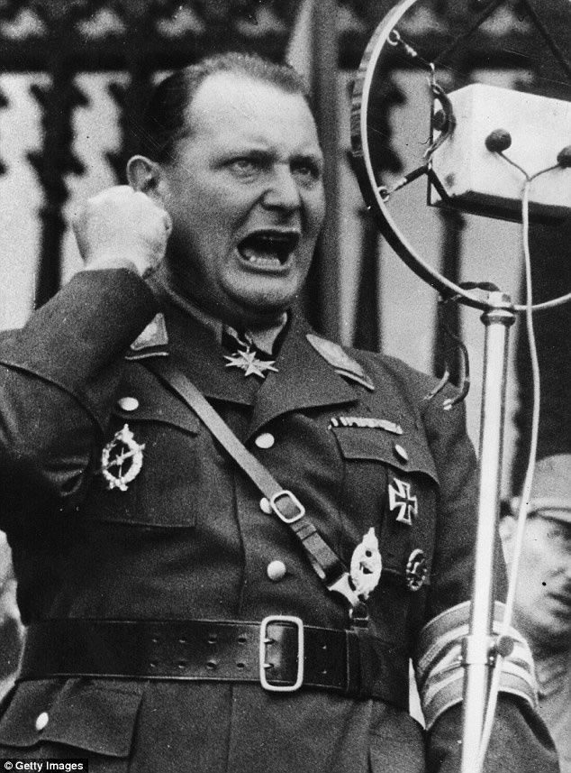 Hitler's henchman Hermann Goering. As one of Hitler's most trusted deputies, he headed the SA 'Brownshirts' and the feared Gestapo secret police before masterminding Germany's rearmament drive in the 1930s and taking over command of the Luftwaffe
