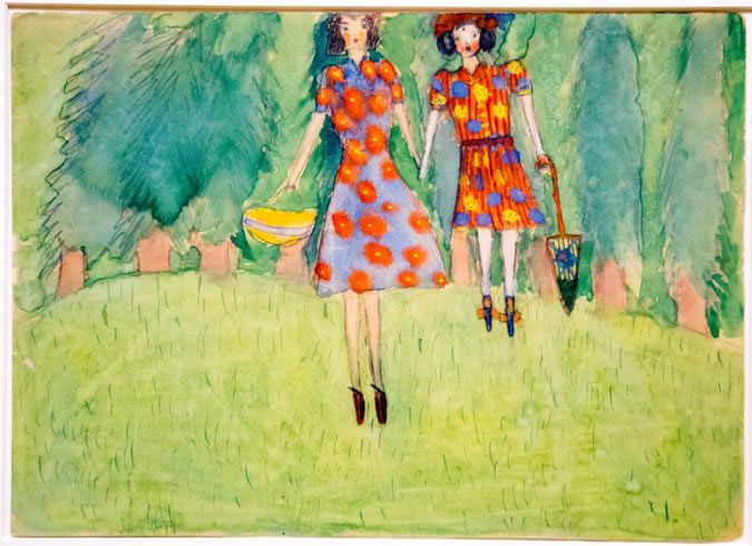 """Girls in the Field"" from 1943, by Nelly Toll, part of the exhibition ""Art From the Holocaust"" opening Jan. 25 at the German Historical Museum in Berlin. Collection of the Yad Vashem Art Museum, Jerusalem, Gift of Nelly Toll"
