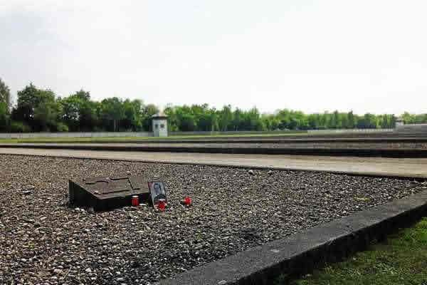 Memorial left for a victim of Dachau Camp. This was one of many at the markers of bunkers