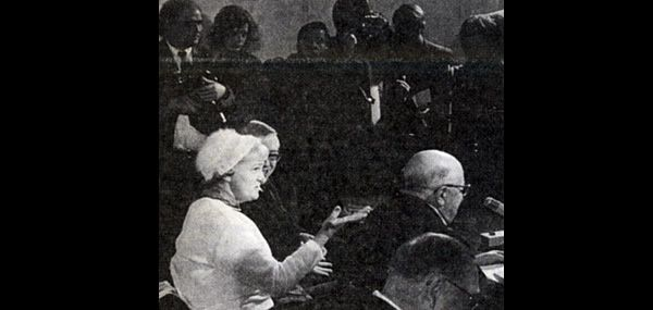 Hermine Braunsteiner at her trial. Photo from a newspaper article in die tat, May 29, 1981