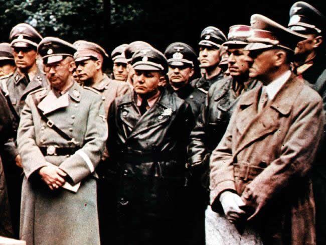 Heinrich Himmler (left) pictured with Adolf Hitler