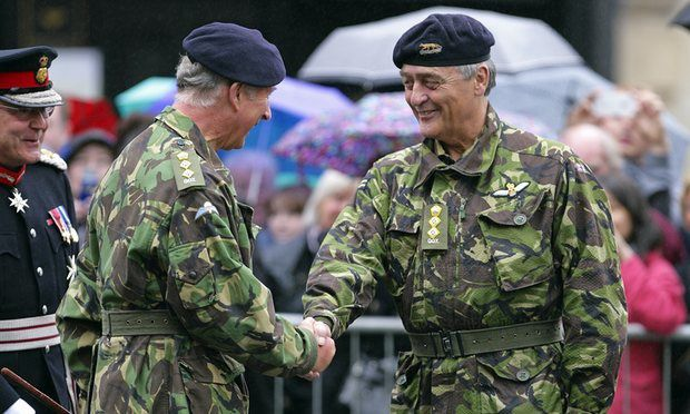 The Duke of Westminster greets the Prince of Wales during the celebrations for The Queen's Own Yeomanry's 40th anniversary in 2011