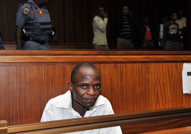 Caption: Ananias Mathe in the Johannesburg high court. He pleaded guilty to two charges of escaping from custody but pleaded not guilty to several charges of rape, robbery, theft and attempted murder