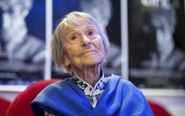 In this June 29, 2016 photo Brunhilde Pomsel, former secretary of NS propaganda minister Goebbels, attends the premier of the film 'Ein deutsches Leben' (lit. A German Life) in Munich, Germany. Pomsel has died. She was 106