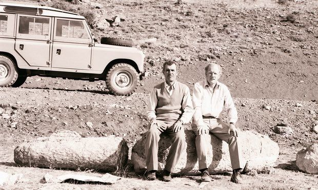 David French, right, with a Turkish government representative taking a break on a Roman road in eastern Turkey