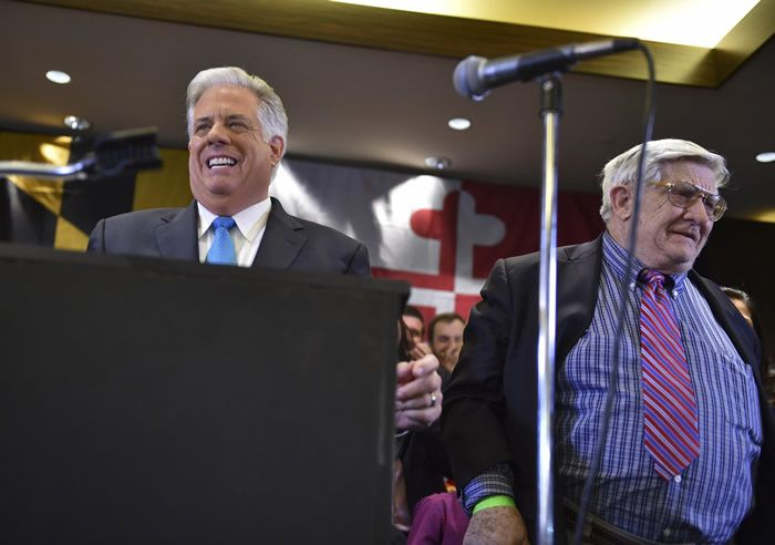 Larry Hogan Jr. (R) celebrates his election as Maryland governor with his father, Lawrence J. Hogan Sr., in 2014. (Ricky Carioti/The Washington Post)