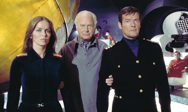 Roger Moore with Barbara Bach and Curd Jürgens in The Spy Who Loved Me, 1977. Photograph: Allstar/United Artists
