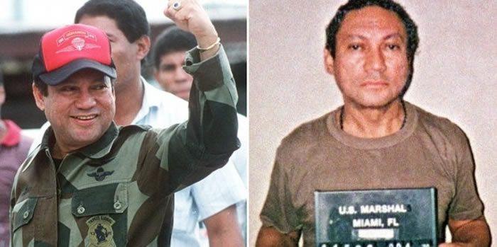 A gauche, le Général Manuel Noriega le 4 octobre 1989 au temps de sa gloire au Panama, juste avant d'être renversé par les Etats-Unis et arrêté pour trafic de drogue. Puis à Miami le 4 janvier 1990