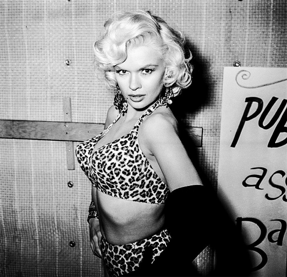 "Jayne Mansfield wearing a bikini made of ""what must have been the smallest leopard in the world"" at the Hollywood Publicists' Ballyhoo Ball, 1956. -  Courtesy of the Tony Mansfield Collection"