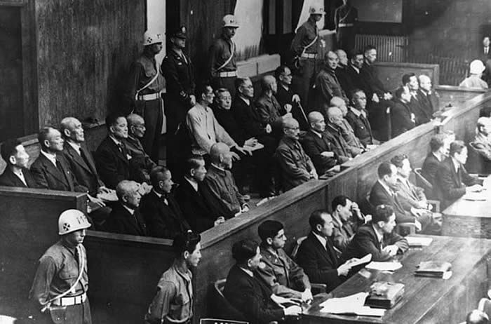 A 1946 picture of accused Japanese war criminals stand in the prisoners' box before the International Bar of Justice at the International War Crimes Tribunal in Tokyo Photo: Getty Images