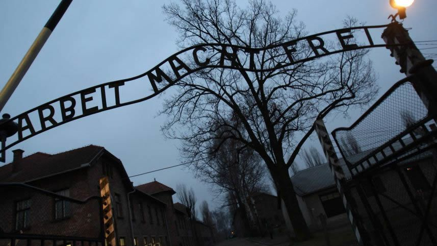 This file photo taken on December 4, 2008 shows the entrance to Auschwitz. AFP