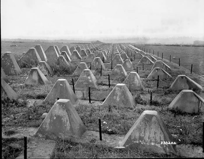 Concrete antitank obstacles such as these studded the German West Wall, or Siegfried Line, along with wide ditches, fortified strongpoints, and mines. The Siegfried Line was one of the many major construction projects supervised by Dr. Todt.