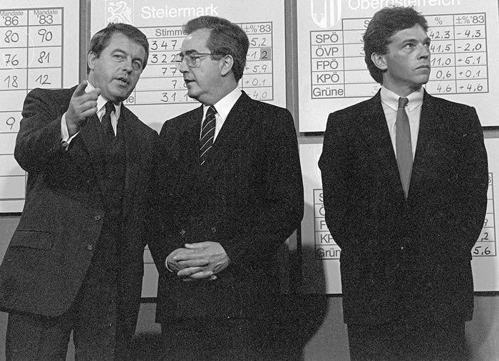 Franz Vranitzky, Alois Mock und Jörg Haider 1986: Flexibilität und Beliebigkeit statt Verantwortungsgefühl waren Teil des Erfolgsgeheimnisses des damaligen FPÖ-Chefs (im Bild nach rechts blickend).