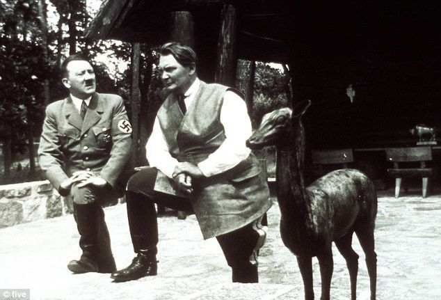 Nazi leaders: Adolf Hitler visits Hermann Goering at his Carinhall hunting lodge where the body of his first wife Carin, which Goering had exhumed from her native Sweden, has recently been discovered