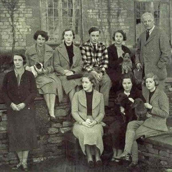 The Mitford family in 1933 with Debo on bottom right