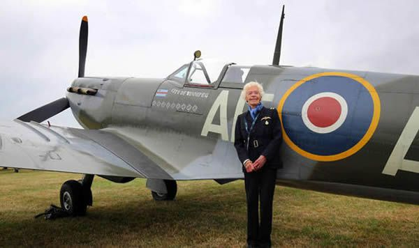 HIGH-FLIER: Mary Ellis, pictured at Biggin Hill, Kent, in 2015, flew many types of aircraft