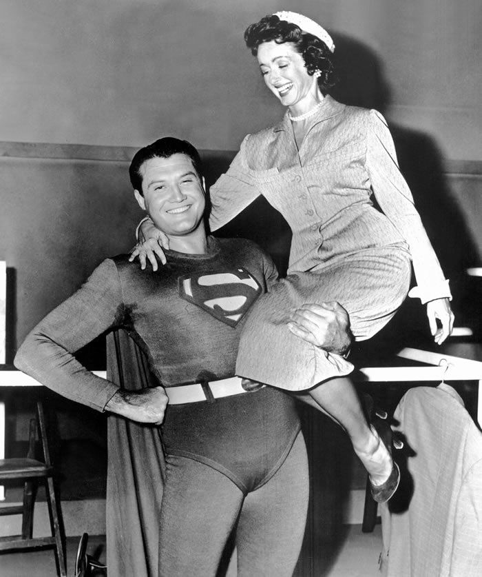 "Noel Neill and George Reeves on the set of the television series ""Adventures of Superman,"" which ran in the 1950s.CreditEverett Collection"
