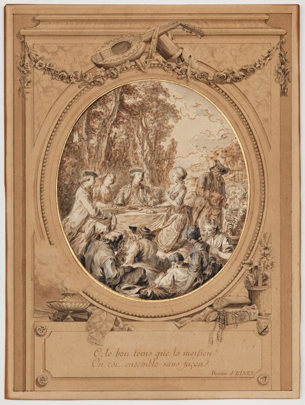 Charles-Dominique-Joseph Eisen, Preparatory sketch with a drawn frame for an illustration of the Comedy Les Moissonneurs, (1768). Private collection, South Germany.