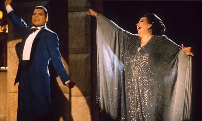 Freddie Mercury and Montserrat Caballé in 1987. He was a great fan and called her voice 'the best in the world'. Photograph: Richard Young/Rex Features