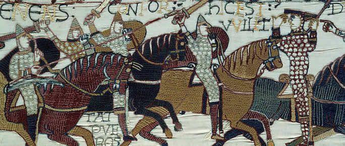 Détail de la tapisserie de Bayeux, (1077).  Bibliothèque de Bayeux