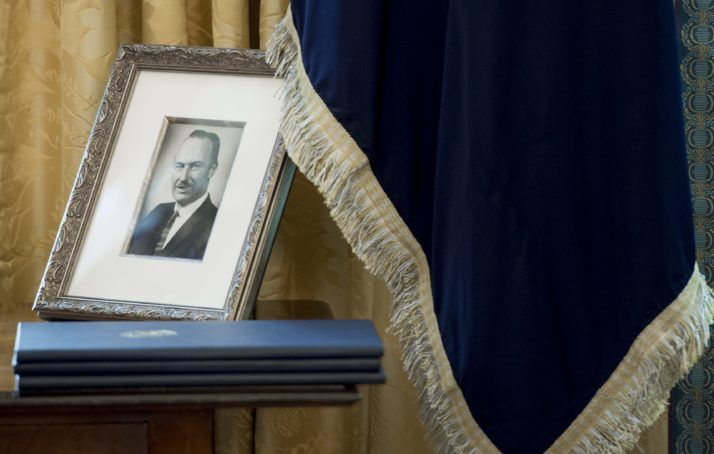 A photograph of Fred Trump on display in the Oval Office of the White House   Saul Loeb/AFP via Getty Images