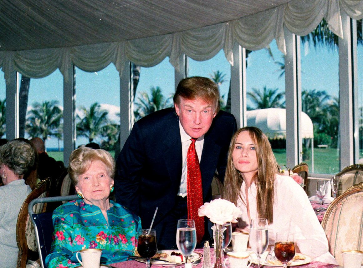 A 2000 picture of U.S. President Donald Trump with his mother Mary and wife Melania, at the Mar-a-Lago club in Palm Beach   Davidoff Studios/Getty Images