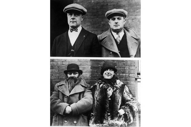 Prohibition-era policemen Moe Smith (on the left in top picture, on the right on the bottom picture) and Izzy Einstein (on the right in the top picture, on the left in the bottom picture). The pair would use disguises to infiltrate speakeasies. (Underwood and Underwood/The LIFE Picture Collection/Getty Images)