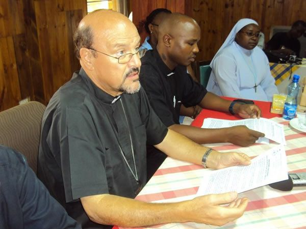 A file photo of the late Malindi diocese Bishop Emmanuel Barbara (L) during a past function. /ALPHONCE GARI