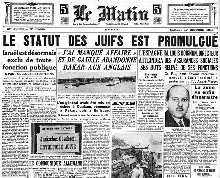 Une du journal Le Matin du 19 octobre 1940, annonçant la promulgation du statut des Juifs.