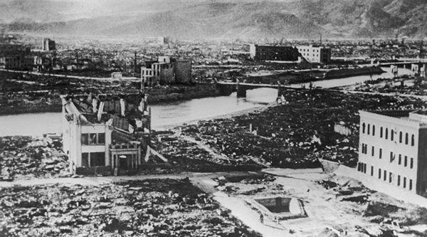Hiroshima après la bombe atomique américaine.