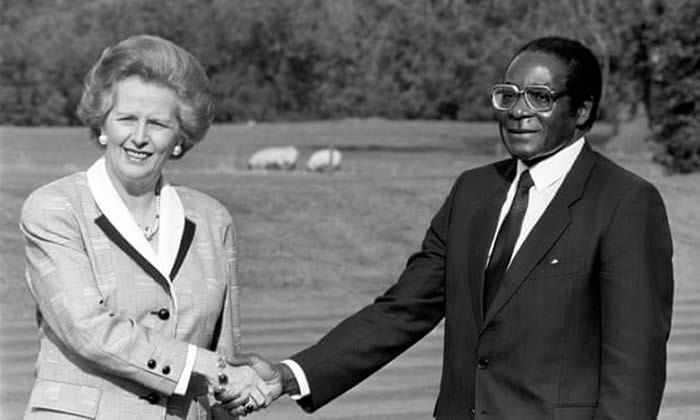 Margaret Thatcher and Robert Mugabe in 1988. Photograph: PA