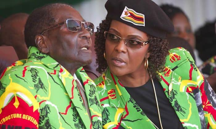 Robert and Grace Mugabe at a youth rally in Marondera, Zimbabwe, 2017. Photograph: Tsvangirayi Mukwazhi/AP