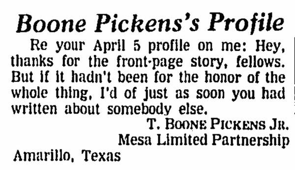 Letter to the editor, April 8, 1988, responding to a Wall Street Journal page-one profile headlined 'Cranky Cowboy.'
