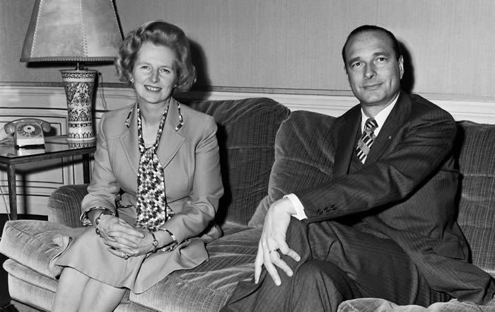 Jacques Chirac and Margaret Thatcher meet in Paris, in 1975. Photograph: SIPA/REX/Shutterstock