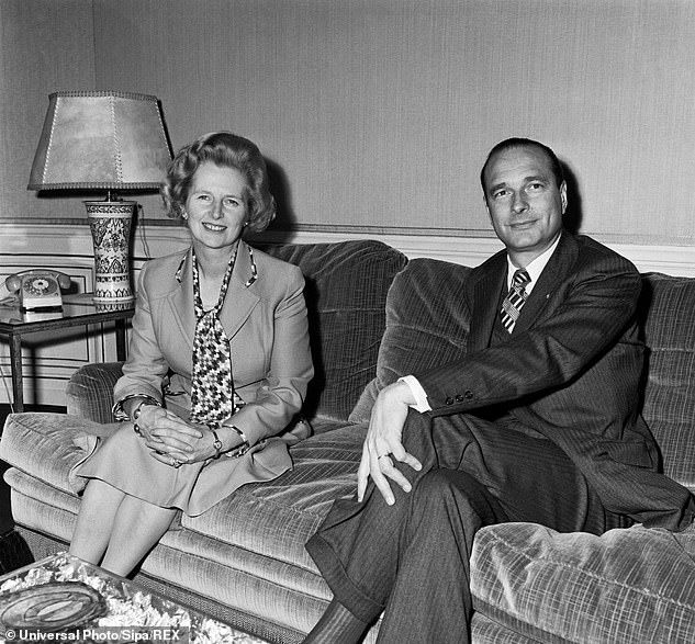 A younger Jacques Chirac in 1975, when he was Prime Minister of France, with Margaret Thatcher who was then Leader of the Opposition in Britain