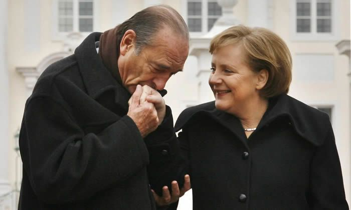Jacques Chirac with Angela Merkel after talks in Meseberg, February 2007. Photograph: Michael Urban/AFP/Getty Images