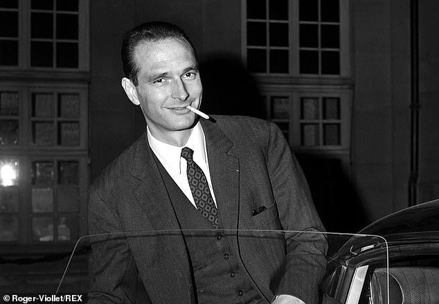 Chirac gets out of a car, cigarette in hand, in the 1960s when his political rise began while Charles de Gaulle was still President of France
