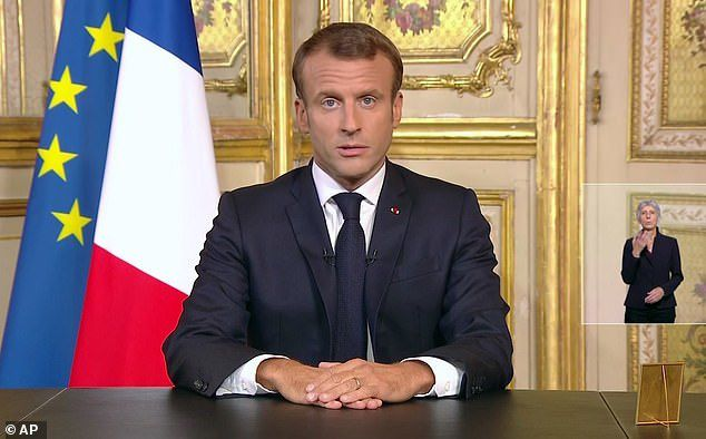 President Emmanuel Macron announced a national day of mourning will take place on Monday before paying an emotional tribute