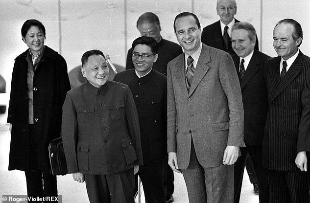 Chirac as French Prime Minister in 1975 with Chinese leader Deng Xiaoping