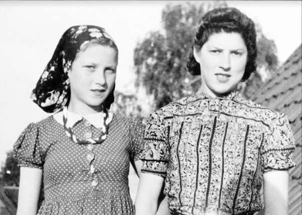 Judy Meisel (left) and her sister Rachel in Denmark after escaping from the Nazis' Stutthof concentration camp in Poland. Courtesy of Ben Cohen