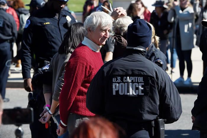 Actor Sam Waterston is arrested outside the US Capitol during a climate change protest, on October 18, 2019 in Washington, DC   OLIVIER DOULIERY/AFP via Getty Images