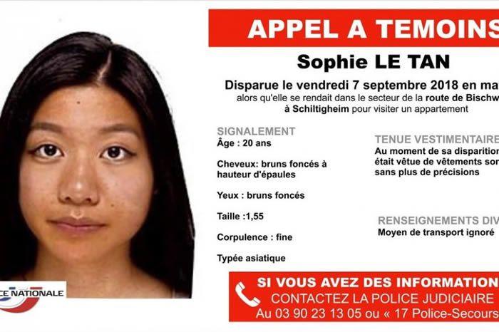 L'affaire Sophie Le Tan a démarré il y a plus d'un an à Schiltigheim (Bas-Rhin). Elle pourrait avoir connu son tragique épilogue. (©Police nationale)